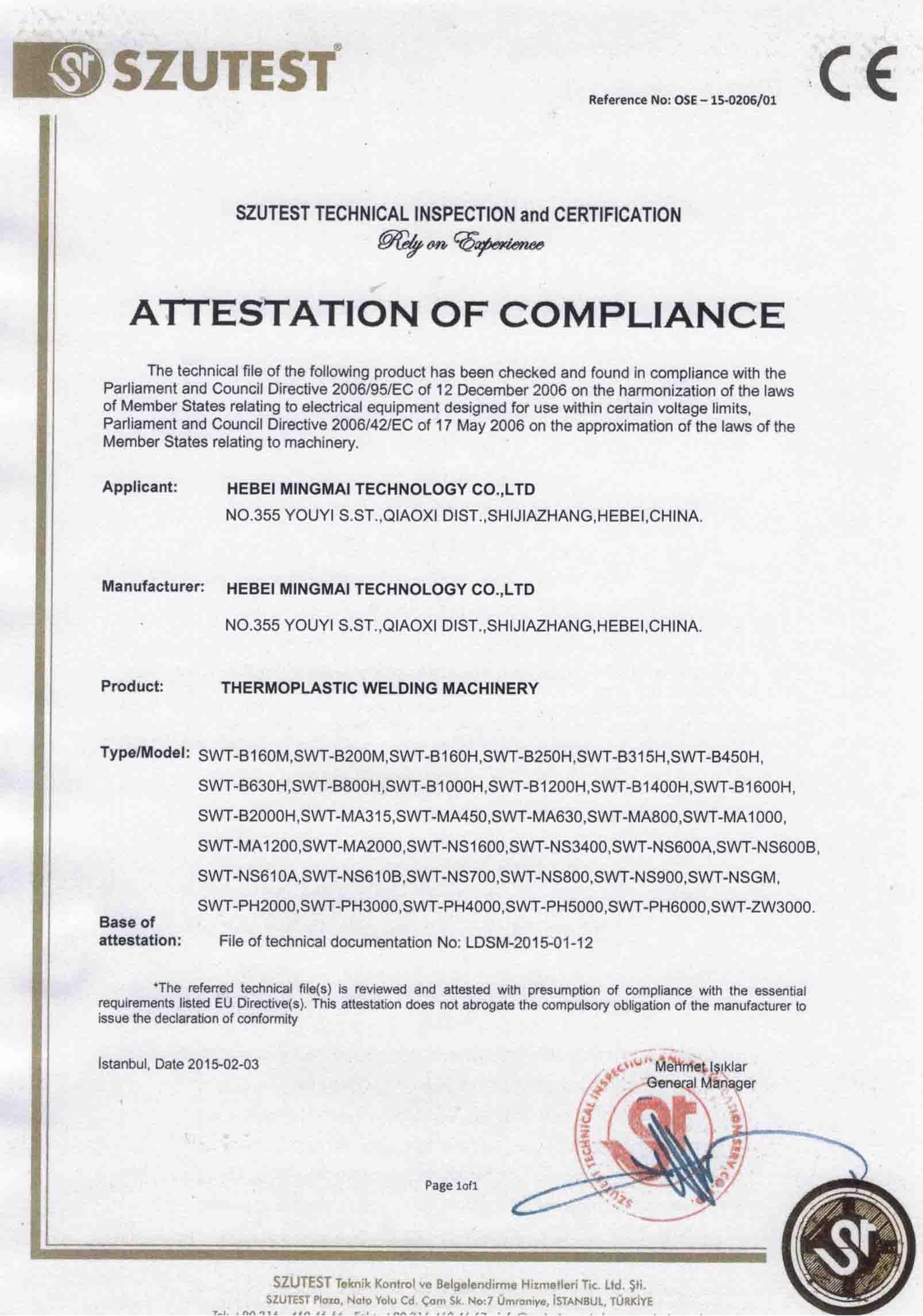 CE Certificate For PE Welding Machine